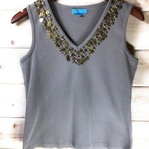Cable & Guage Tank With Embellishments